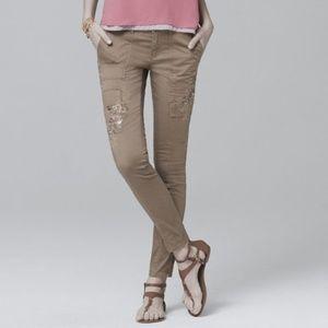 """WHBM Embroidered Skinny Ankle Jeans in """"Tobacco"""""""